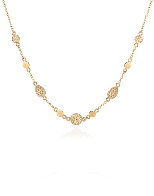 Drop & Disc Charm Collar Necklace - Gold