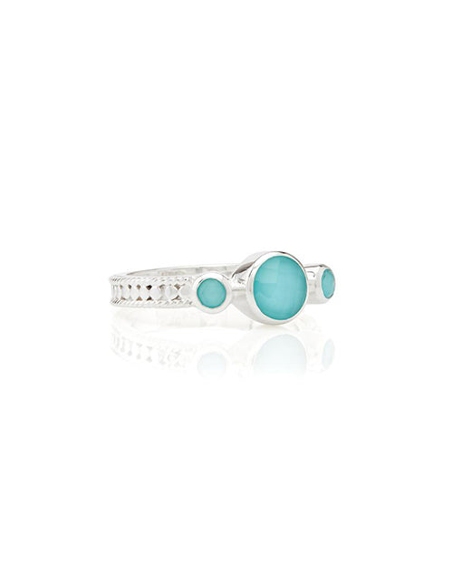 Turquoise Triple Stone Stacking Ring Sterling
