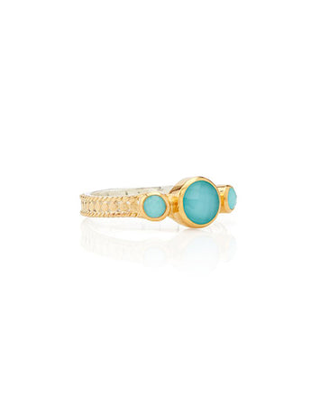 Turquoise Triple Stone Stacking Ring Gold