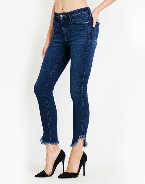 Hi Rise Skinny With Diagonal Denim