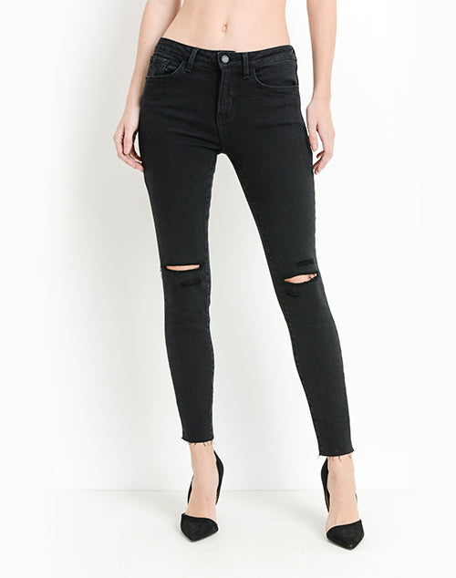 Multi Slits Scissor Cut Skinny Denim