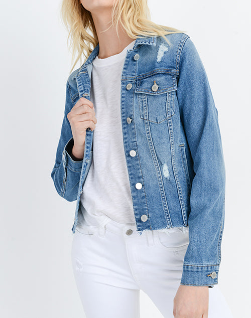 Denim Jacket With Fray Hem