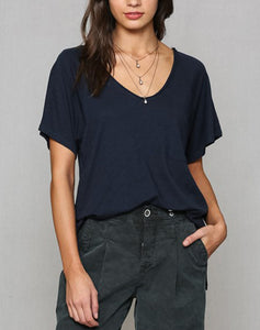 V Neck Oversized Pocket T Shirt