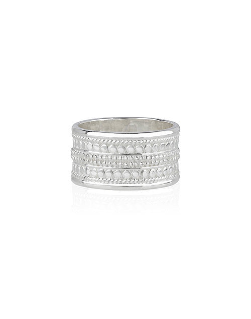 Beaded Cigar Ring Sterling Silver
