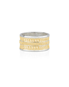 Beaded Cigar Ring Gold Plated