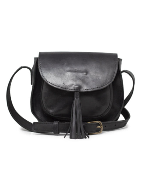 Maria Tassel Crossbody - Black