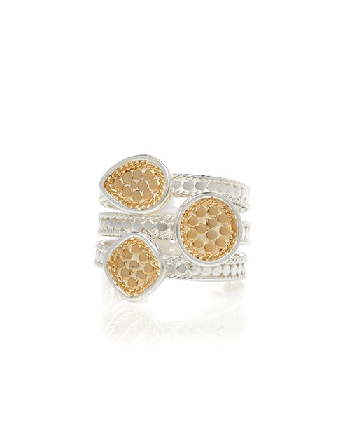 Beaded Triple Ring Gold Plated