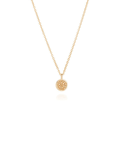 Small Reversiable Dotted Disc Necklace - Gold Plated