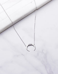 CZ Crescent Moon Necklace