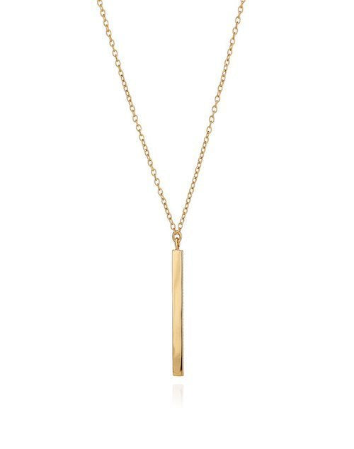 Long Vertical Bar Necklace Gold Plated