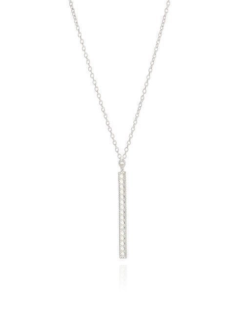 Long Vertical Bar Necklace Sterling