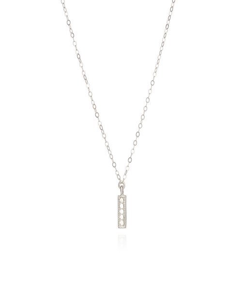 Vertical Bar Necklace Sterling Silver 16-18