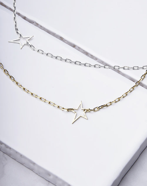 Star Outline Wide Chain Necklace