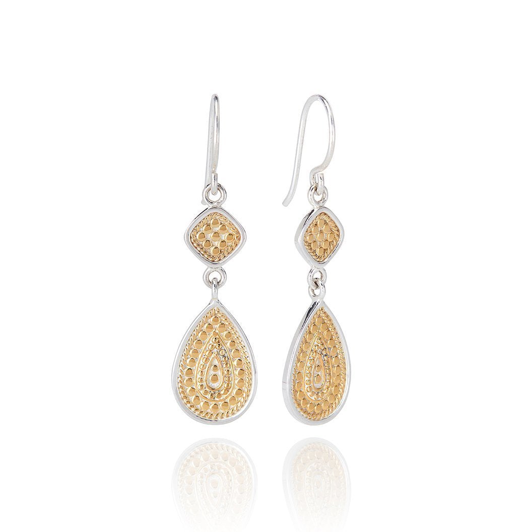 Beaded Cushion And Teardrop Gold Plated Earring