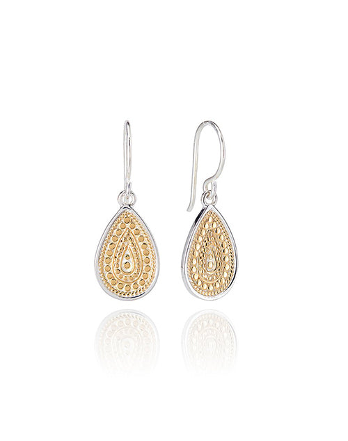 Medium Beaded Teardrop Gold Plated Earring
