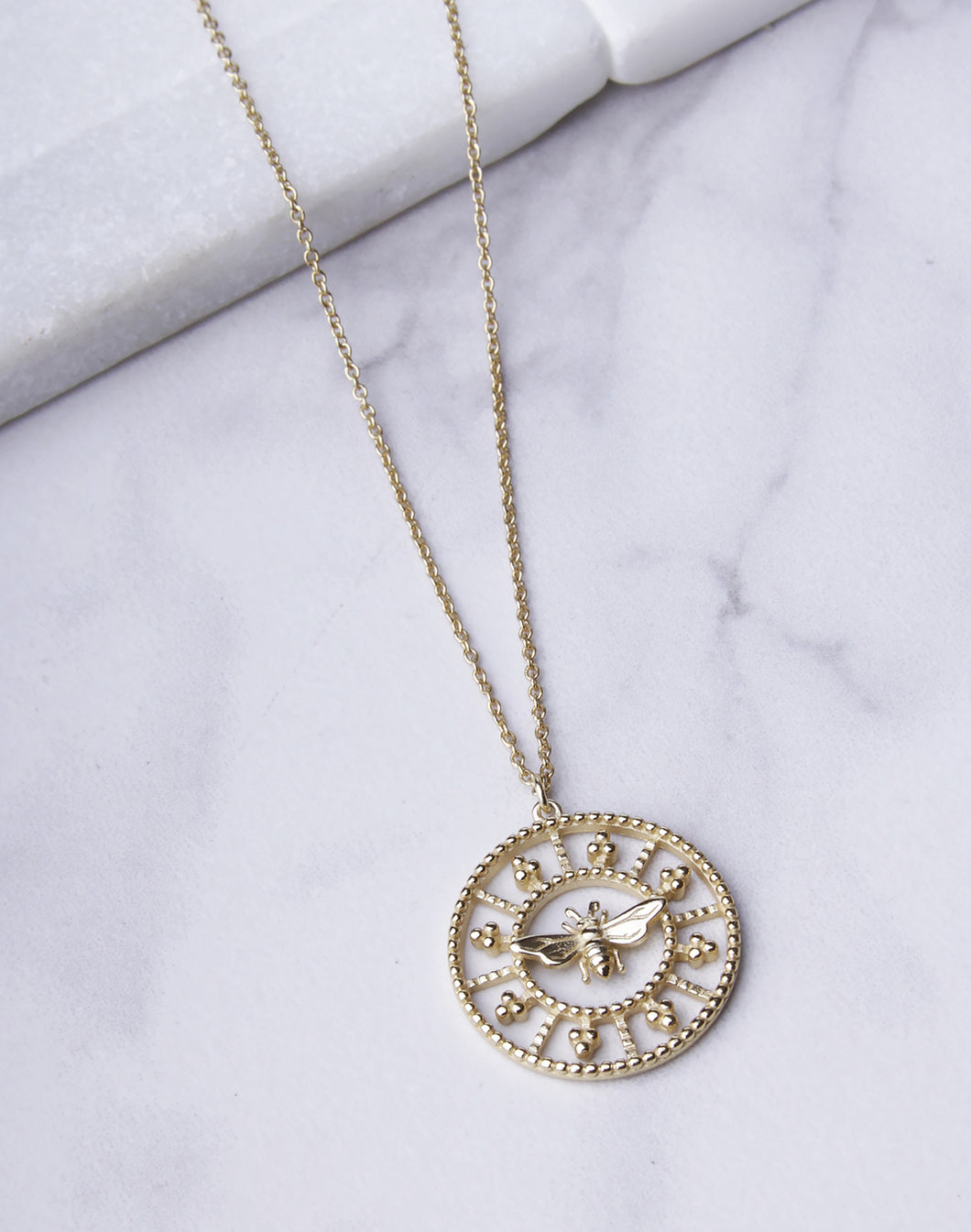 Bee Filagree Circle Necklace