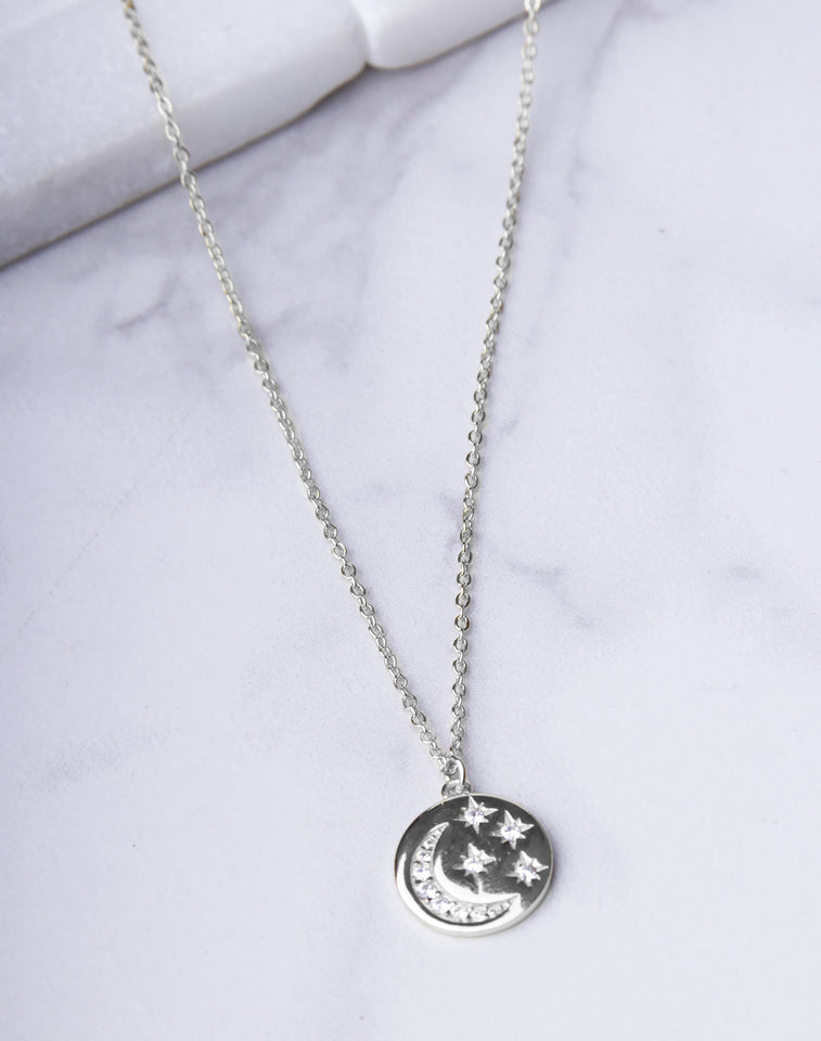 Moon & Star CZ Circle Necklace