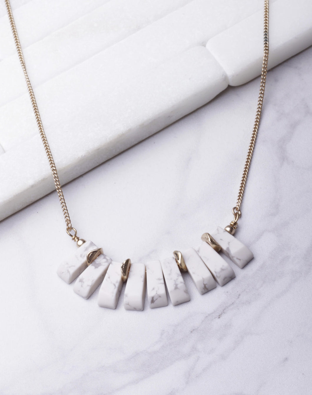 White Marble Short Necklace