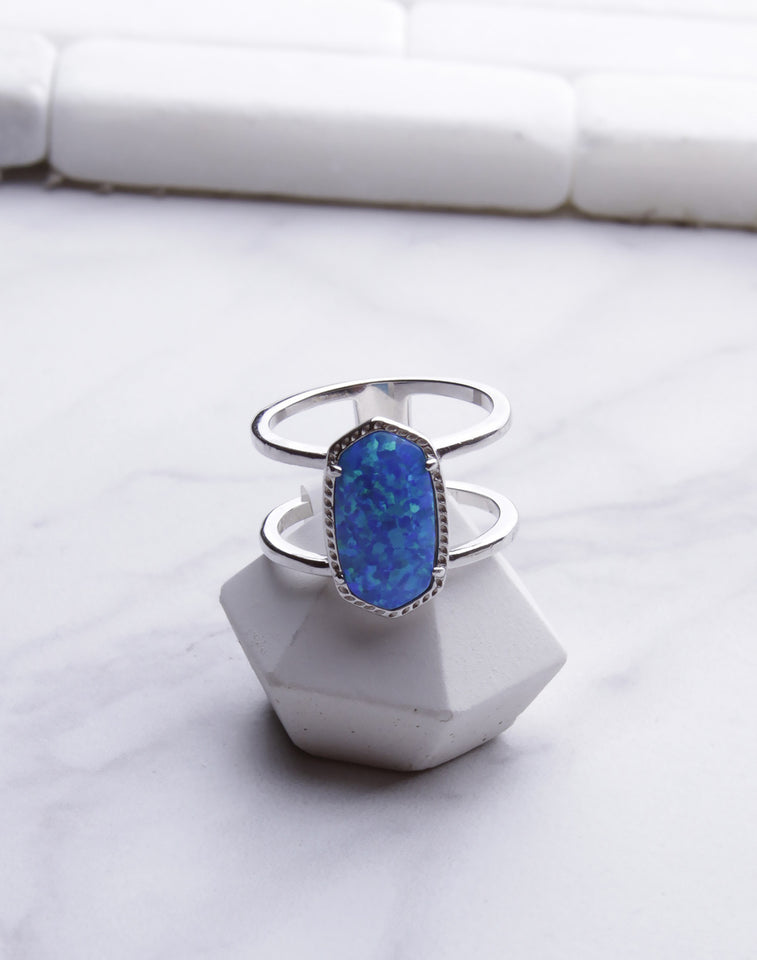 Oval Double Band Blue Opal Ring