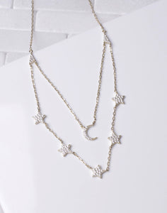 Layered Chain CZ Moon & Star Necklace