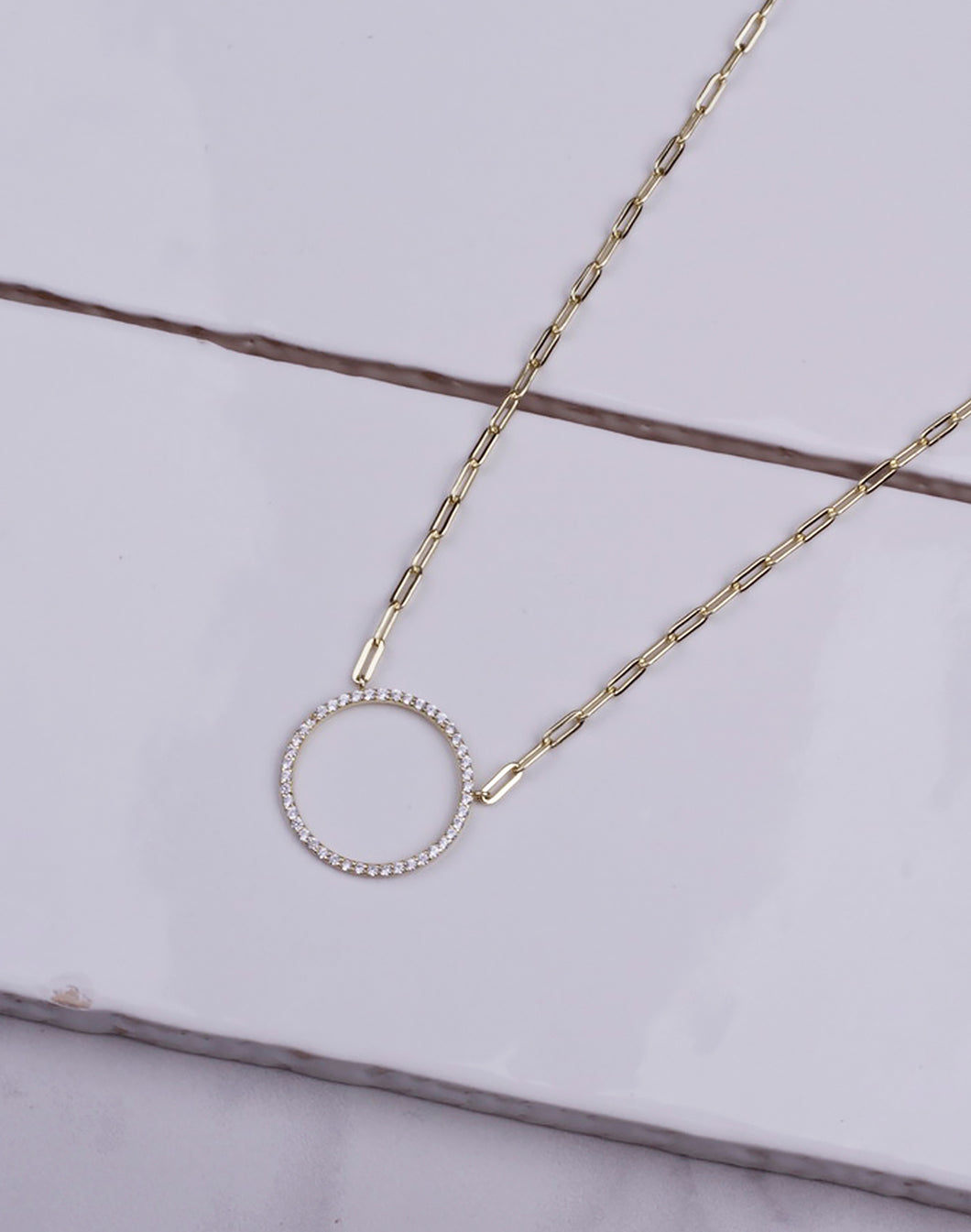 Large Hollow CZ Circle Chain Link Necklace