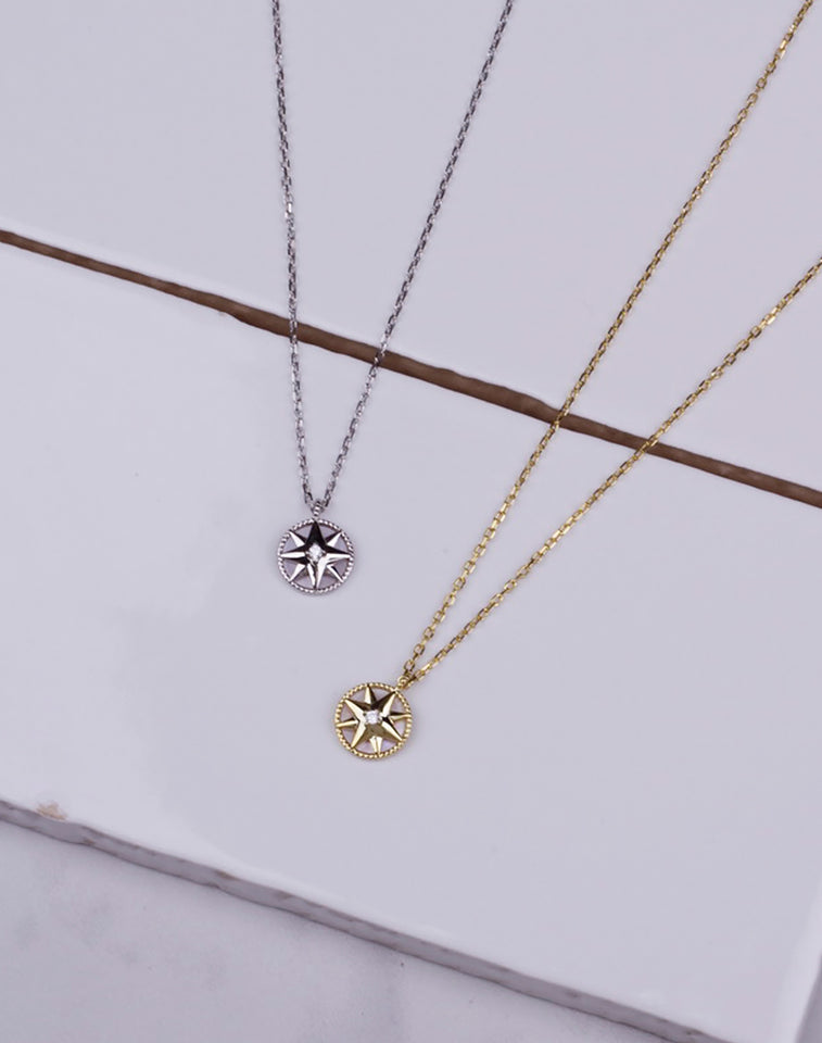 MOP Compass CZ Necklace