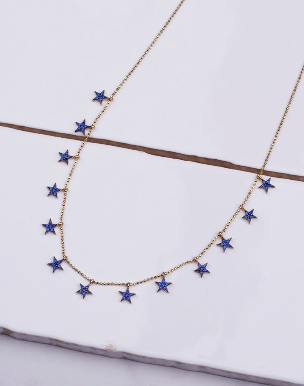 Blue CZ Star Beaded Necklace