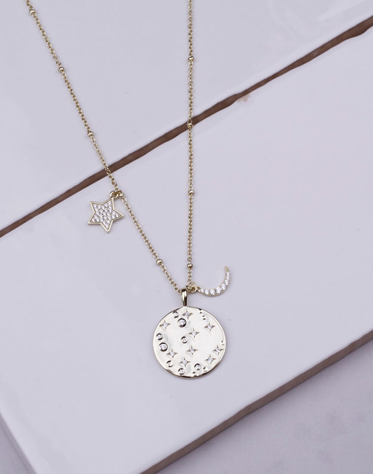 Northern Star CZ Coin Moon Charm Necklace