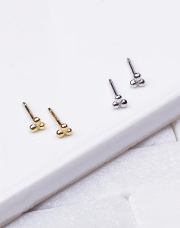 Tiny Triangle Triple Bead Stud