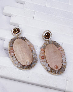 Large Wood Stone Beaded Dangle