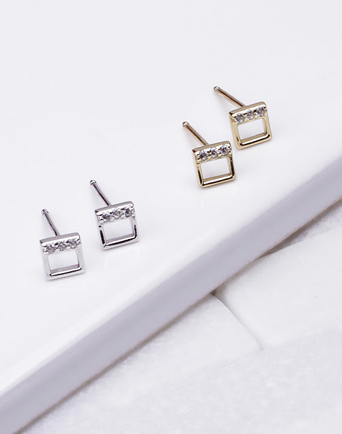 Small Open Square CZ Stud