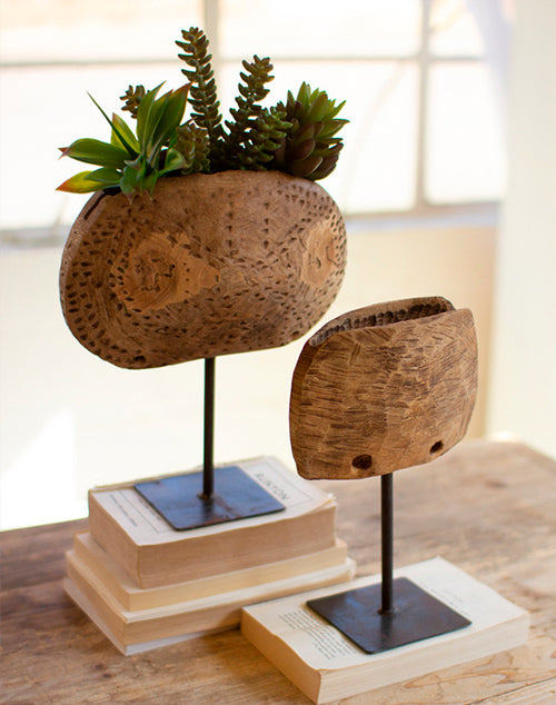 Large Repurposed Wooden Cowbell Planters