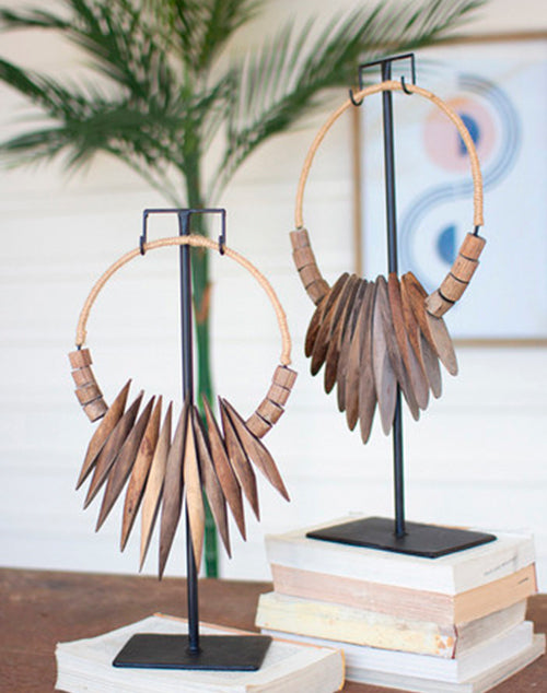 Large Recycled Wood Necklace Art Iron Stand
