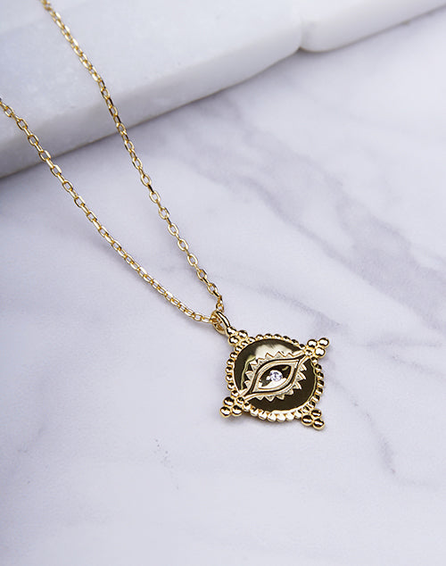Dotted Evil Eye Pendant Necklace