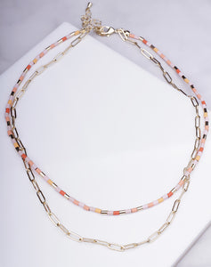 Multi Bead & Chain Layered Choker
