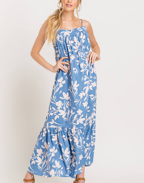 Jade Floral Tiered Maxi Dress