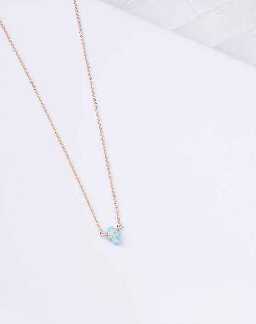 Hamsa Sm. Sea Green Opal Necklace-14K Gold Filled