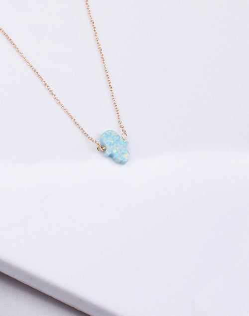 Hamsa Med. Sea Green Opal Necklace-14K Gold Filled