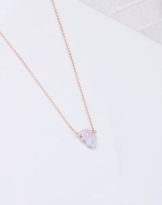 Hamsa Med. White Opal Necklace-14K Gold Filled