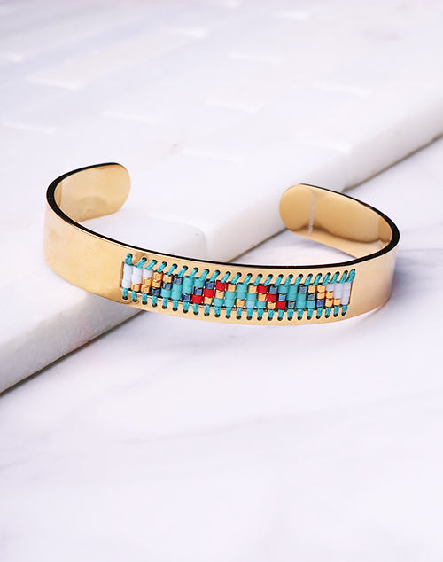 Cuff Seed Bead Turquoise - 18K Gold Filled