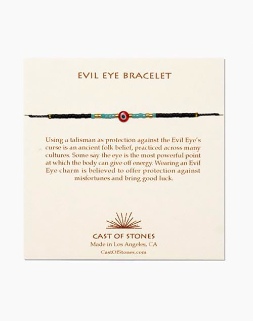 Glass Bead Evil Eye Bracelet - Red W/ Turquoise
