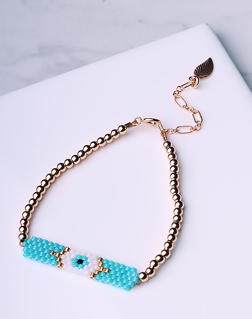 Evil Eye Seed Bead Turquoise Bracelet-14K Gold Filled