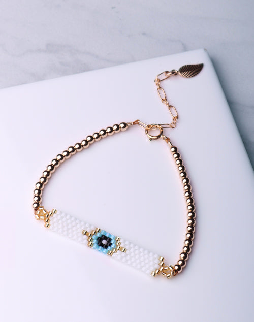 Evil Eye Seed Bead White Bracelet-14K Gold Filled
