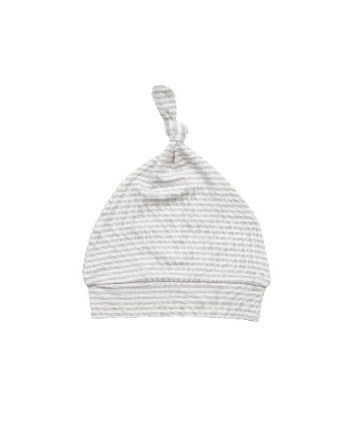Basics Grey Stripe Knotted Hat 0-3M