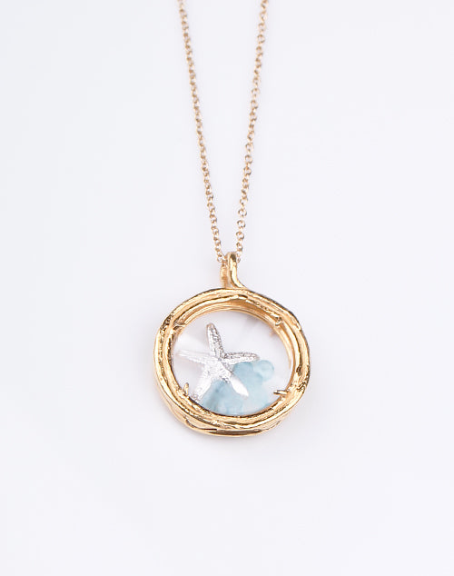 Aqua Starfish Locket Necklace