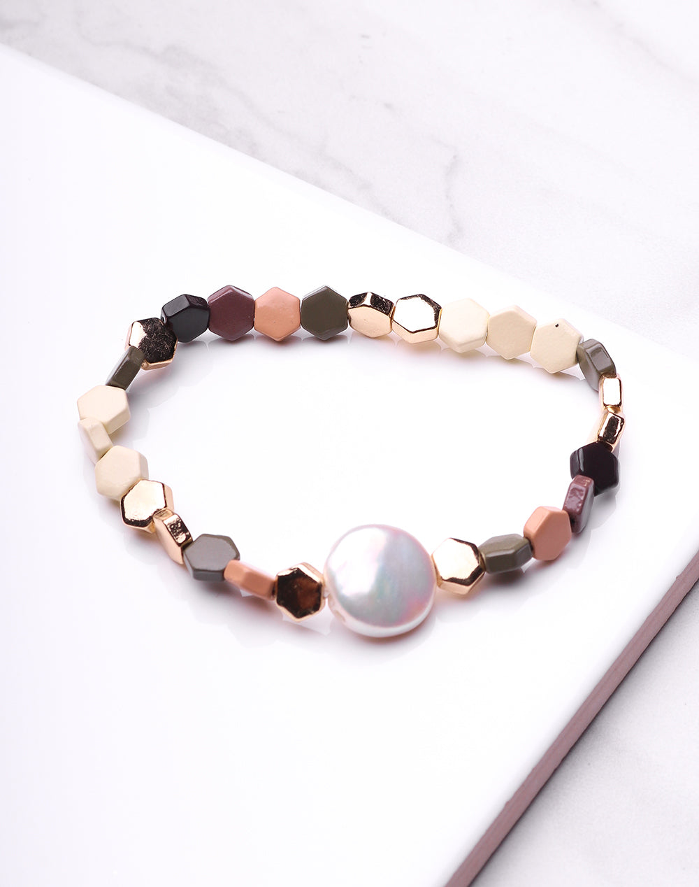 Hex & Pearl Neutral Bracelet