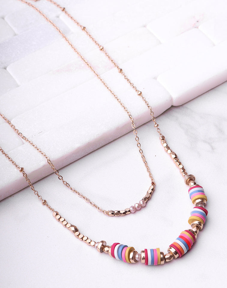 Multi Disc Stacked Necklace