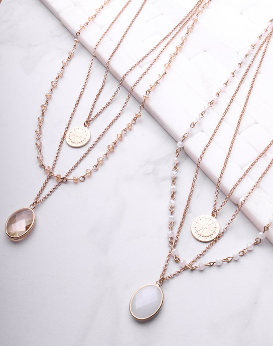 Layered Beaded Chain Crystal Necklace