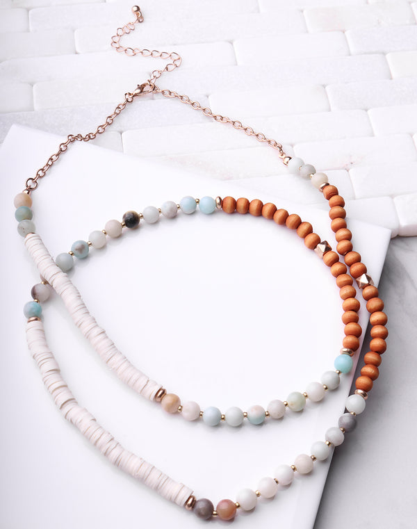 Stone, Wood & Disc Long Necklace