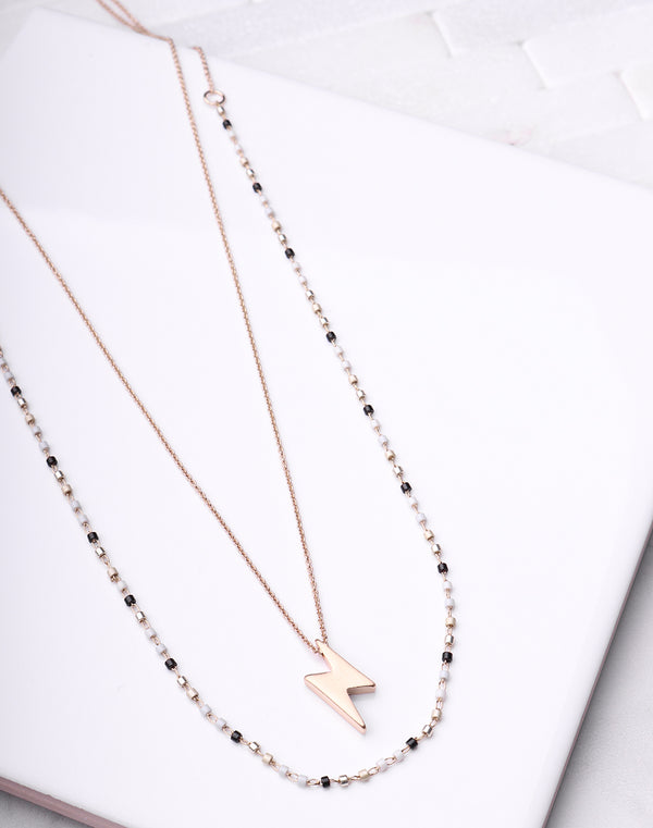 Lightening Bolt Layered Necklace